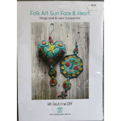 kit feutrine : visage soleil et coeur à suspendre