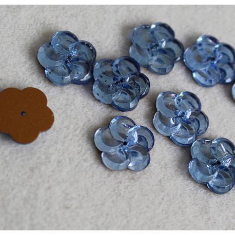 cabochon fleur bleue grise