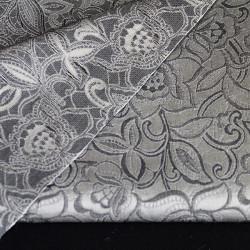 coupon tissu gris à petites fleurs